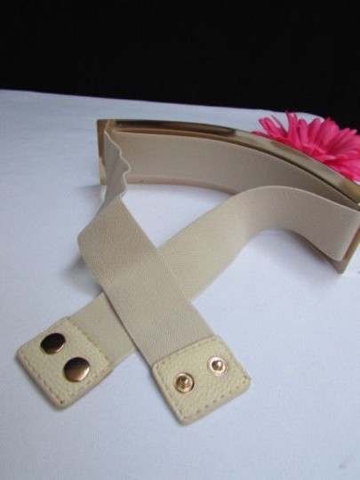 Other Women Waist Hip Wide Gold Metal Plate Fashion Belt Off White Elastic