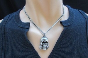 Men Biker Fashion Silver Chain Necklace Skull Skeleton Head Differet Style