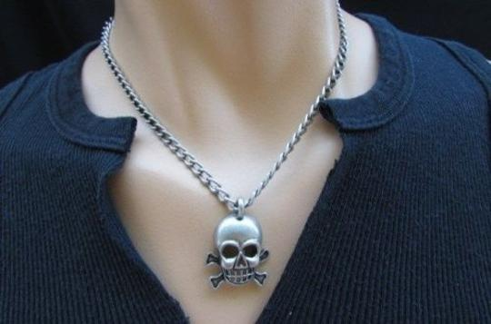 Other Men Biker Fashion Silver Chain Necklace Skull Skeleton Head Differet Style