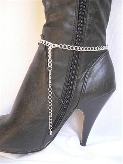 Other Women Silver Multi Chain Boot Strap Rhinestones Western Shoes Big Star Charm