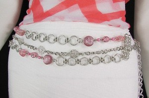 Women Pink Beads Thick Silver Metal Chains Fashion Belt Hip 20-40