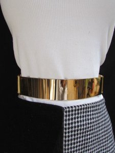 Women Waist Hip Gold Metal Plate Fashion Belt Elastic Plus 32-45