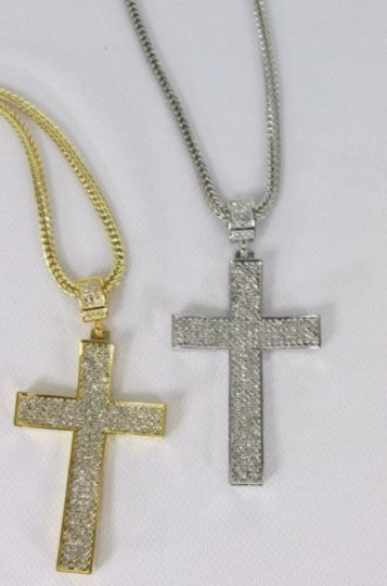 Other Men Metal Chains 35 Long Fashion Necklace Silver Gold Cross Pendant
