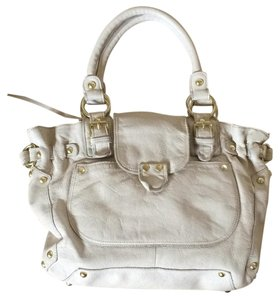 Linea Pelle Leather Studded Winter White Satchel in Cream