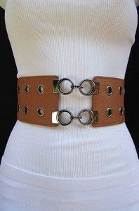Women Hip Waist Western Fashion Wide Belt Multi Circles Black Brown Red Gray
