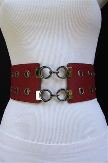 Other Women Western Fashion Wide Belt Multi Circles Black Brown Red Gray