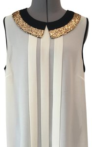 Anthropologie Top Cream, black and gold