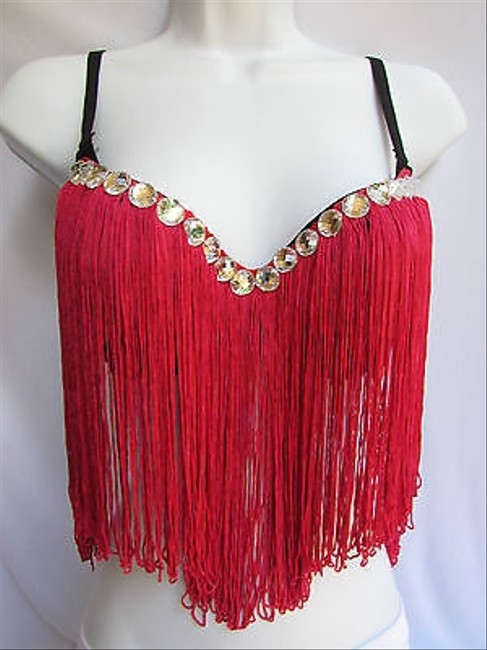 Other Women Bra Fashion Salsa Pink Magenta Bralet Long Fringe Clubwear 34b Top Reds