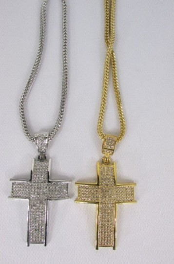 Other Men Metal Chains 35 Long Fashion Necklace Silver Gold Thick Cross Pendant