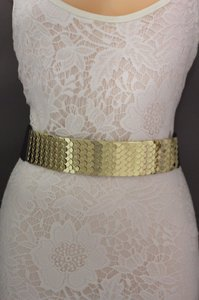 Women High Waist Hip Gold Metal Plate Fashion Belt Black Elastic 30-37