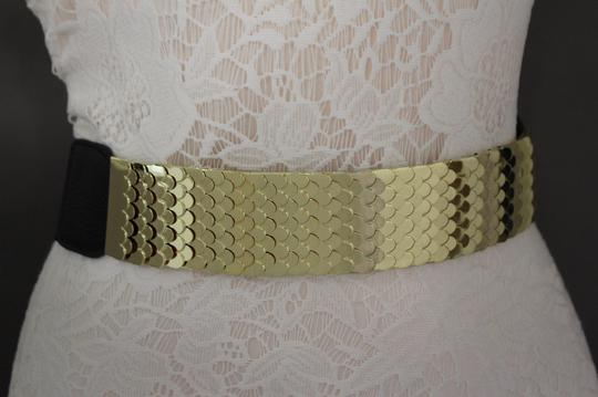 Other Women High Waist Hip Gold Metal Plate Belt Black Elastic 30-37