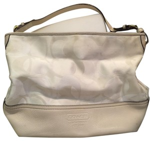 Coach Monogram Leather Pocketbook Tote in ivory