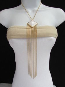 Women Gold Long Necklace Earrings Set Thin Chains Triangle White Pendant