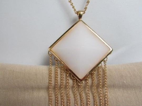 Other Women Gold Long Necklace Earrings Set Triangle White Pendant