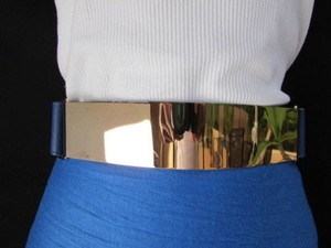 Other Women Waist Gold Metal Plate Fashion Belt Blue Elastic Plus 32-45