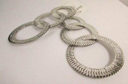 Other Women Big Chunky Hoops Thick Silver Mesh Metal Chains Fashion Earrings Set