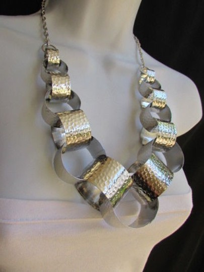 Other Women Necklace Fashion Silver Mesh Metal Big Rings Chains Hollywood 11 Drop