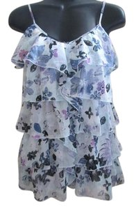 Candie's Semi Sheer Chiffon Ruffled Tiered Floral Top Blue