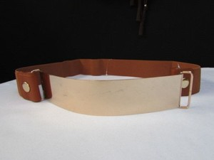 Other Women Waist Gold Metal Plate Fashion Belt Mocha Brown Elastic 32-45 -