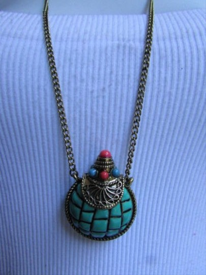 Other Women Antique Gold Long Thin Chain Fashion Necklace Blue Bead Bottle Pendant