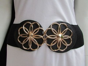 Women Black Fashion Belt High Waist Hip Gold Flowers Buckle 27-35