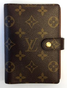 Louis Vuitton #8462 monogram 6 Ring agenda pm check book wallet holder card