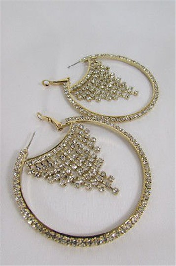 Other Neue Damen Gold Metall Hoops Modische Ohrringe Set Multi Silber Strass Haken