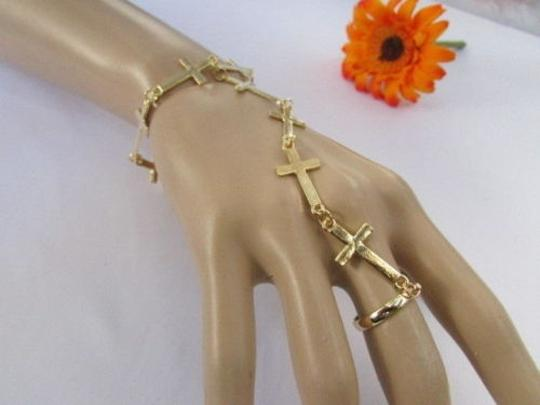 Other Women Gold Metal Fashion Thin Crosses Bracelet Slave Chains Ring Classic Style