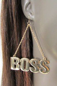 Other Women Big Gold Metal Boss Dangle Chains Pendant Fashion Earrings Set Hook