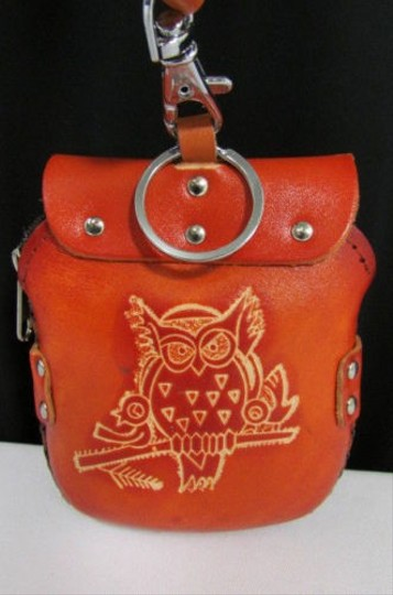 Other Women Owl Small Purse Coin Wallet Leather Bird Key Chain Red Green Orange