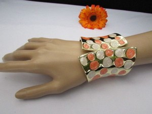 Women 3.25 Wide Gold Metal Claws Cuff Fashion Bracelet White Peach Polka Dots