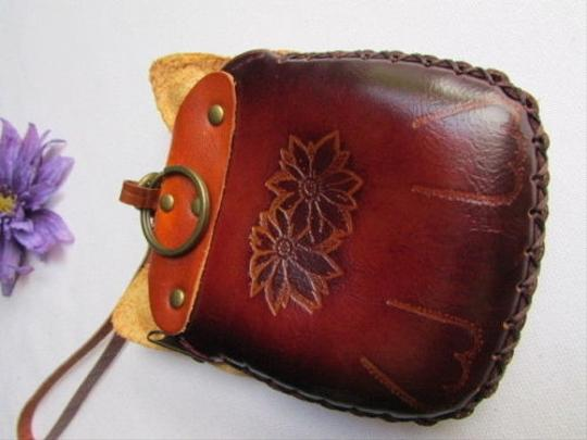 Other Women Dark Brown Cat Purse Small Coin Bag Genuine Leather Wallet Key Chain
