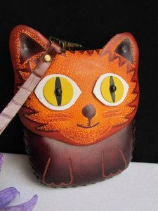 Other Women Dark Brown Cat Purse Coin Bag Genuine Leather Wallet Key Chain
