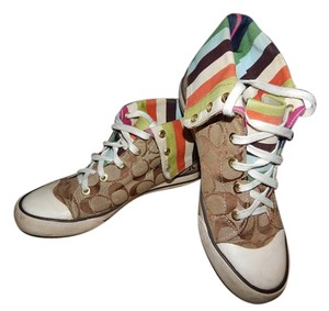 Coach Women Bonnie Khaki and Multi Color Stripe Flats
