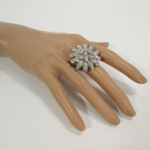 Other Women Silver Metal Ring Adjustable Band Big Flower Rhinestone