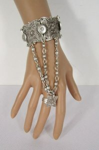 Women Silver Metal Multi Chains Slave Bracelet Flowers Cuff Ring Hand Made