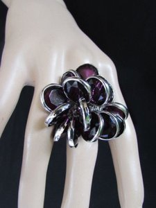 Other Women Silver Metal Fashion Ring Multi Purple Beads Popular