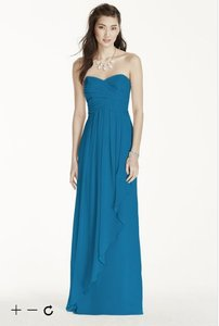 David's Bridal Pacific Blue Strapless Crinkle Chiffon Dress With Cascade Skirt W10840 Dress