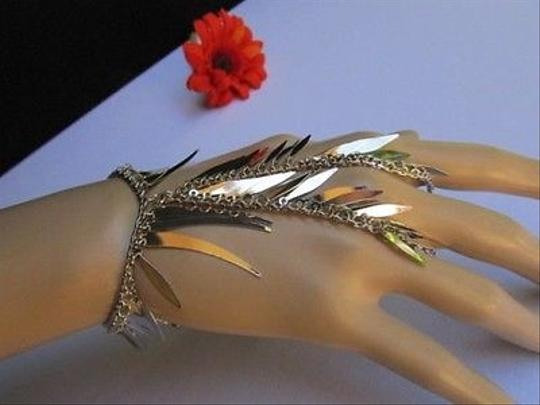 Other Women Bracelet Silver Spikes Trendy Style Hand Chain Slave Ring Rhinestones