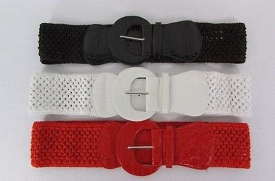 Other Women Elastic Braided Crochet Trendy Belt Red White Brown Silver