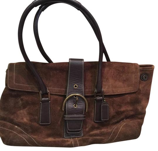 Preload https://img-static.tradesy.com/item/19283371/coach-flap-double-pocket-carameldark-brown-accents-suede-and-leather-satchel-0-2-540-540.jpg