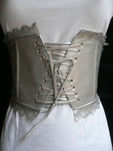 Other Women Elastic Silver Wide Tie Corset High Waist Flowers Belt