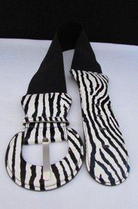 Other Women Hip Elastic Waist Stretch Zebra Black White Wide Fashion Belt