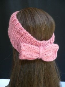 Other B. Women Coral Pink Big Bow Fashion Knit Neck Scarf Head Hair Band Stylish