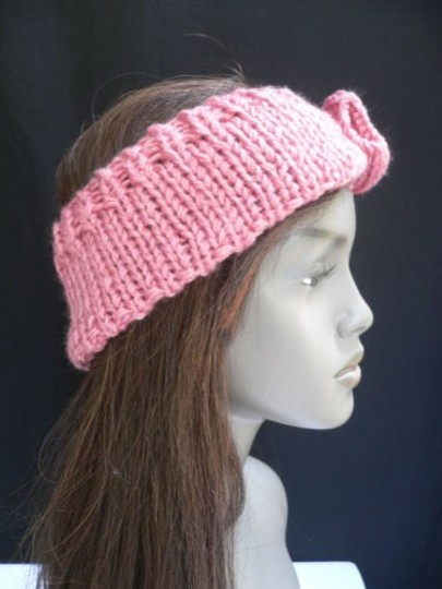 Other Women Coral Pink Big Bow Knit Neck Scarf Head Hair Band Stylish