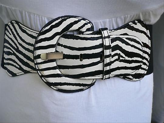 Other Women Hip Elastic High Waist Stretch Zebra Black And White Chic Belt