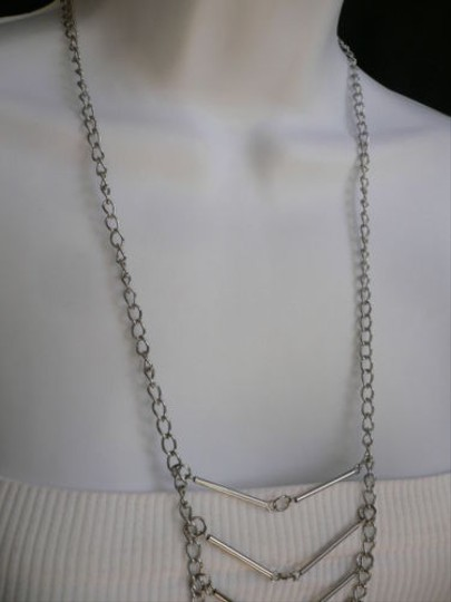 Other Women Silver Long Necklace Multi Metal Chain Thin Links Trendy Body Jewerly