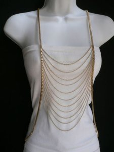 Other Women Gold Multi Waves Metal Body Chain Jewelry Long Trendy Vegas Necklace