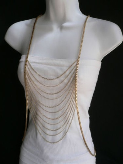 Other Women Gold Multi Waves Metal Body Chain Necklace