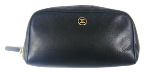 Chanel Calf Leather Clutch Cosmetics Makeup Travel Toiletry Bag